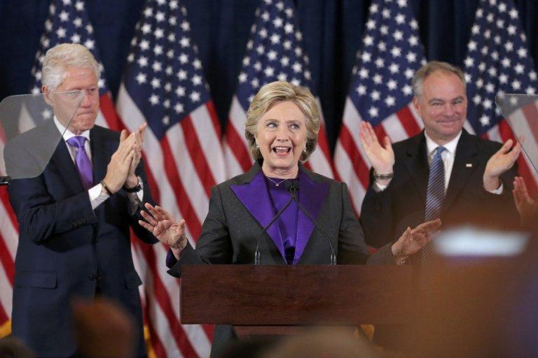 Hillary Clintonová během svého projevu na Manhattanu.