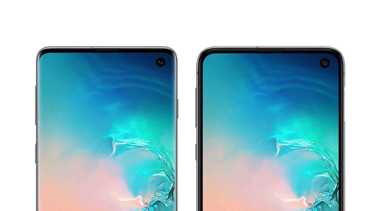 Samsung Galaxy S10 (vlevo) a Galaxy S10e s většími rámečky