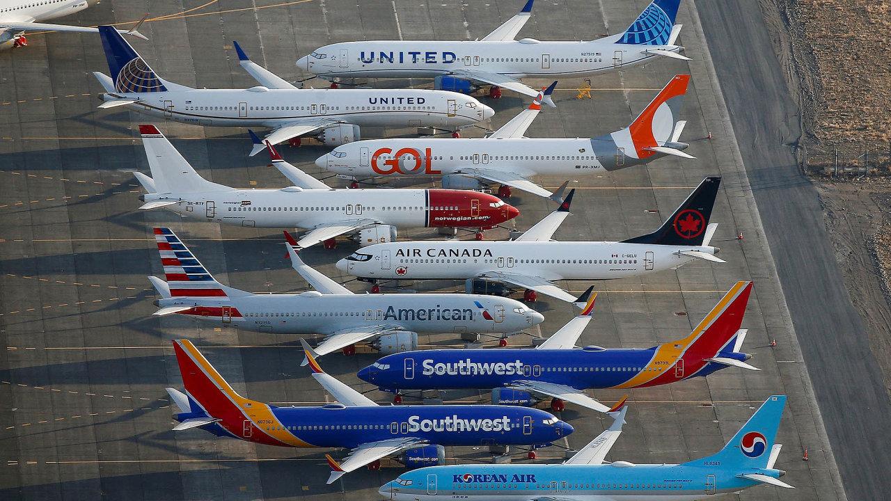 Odstavené stroje Boeing 737 Max.