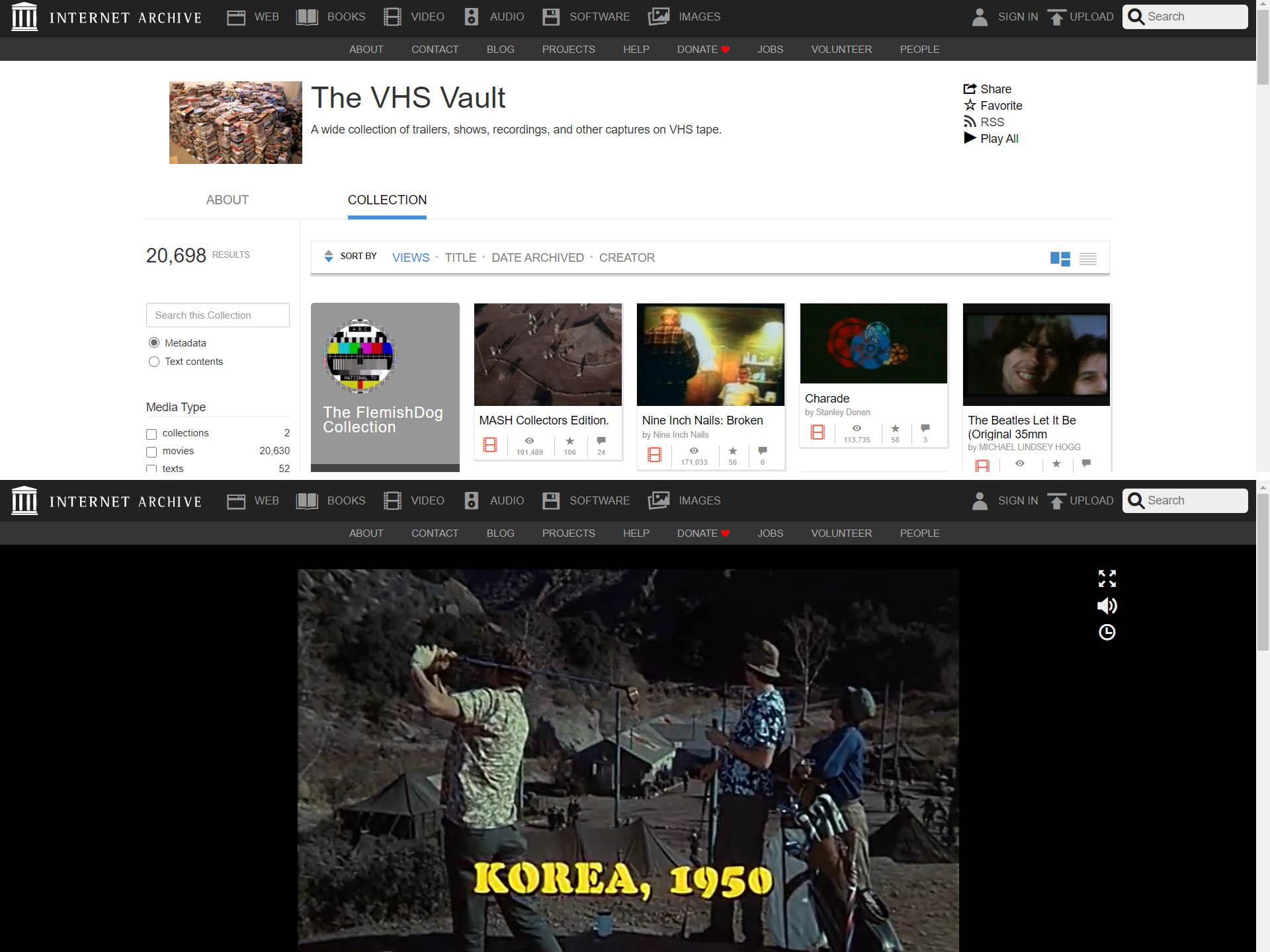 Na Archive.org jsou k vidění archivy starých webových stránek, záznamy zgramofonových desek ipřepsané filmy z VHS kazet.