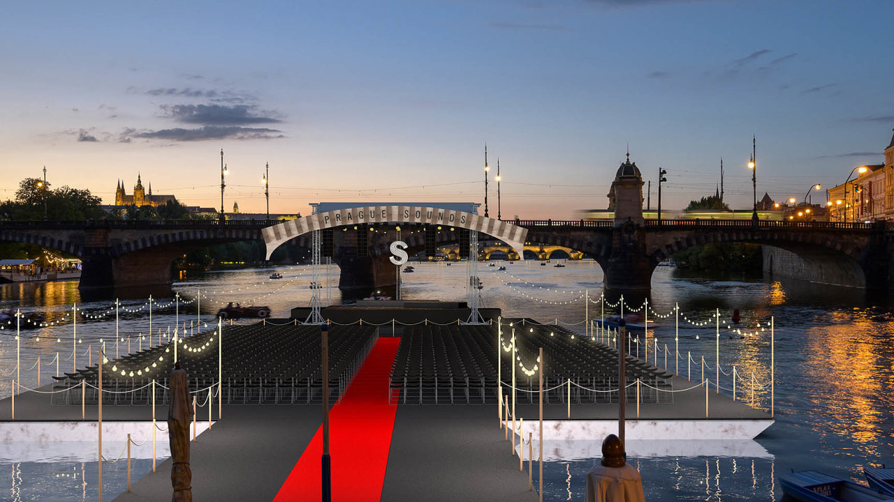 Scéna plovoucí na Vltavě se stane dějištěm koncertu houslisty Daniela Hopea. Jejími autory jsou bratři Cabanové.