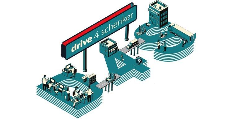S vylepšeným nástrojem mohou dopravci naplnit své přepravní kapacity pouhým kliknutím (na obrázku je logo platformy Drive4Schenker).