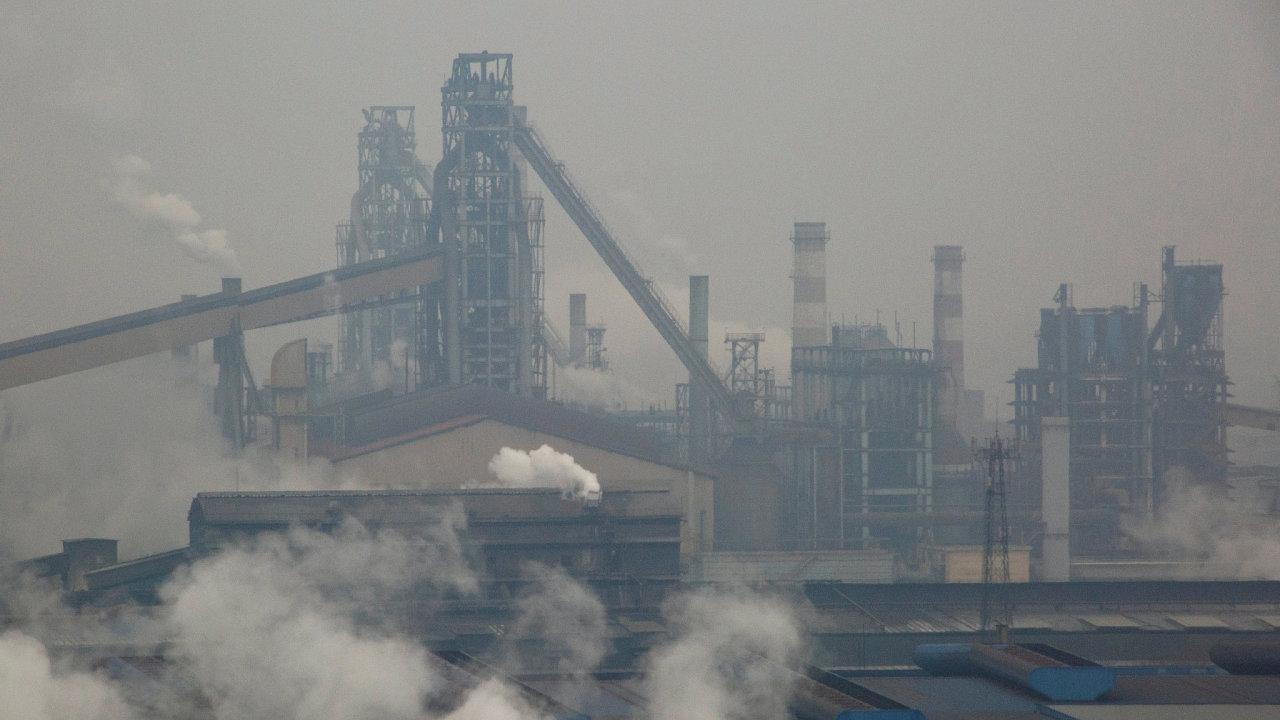 Čína, smog, továrna, kouř, ocelárna Anyang