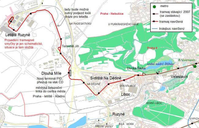 Mapa možné trasy tramvaje do Ruzyně