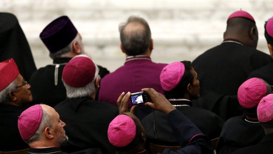 Biskupové sledují proslov papeže Benedikta XVI.