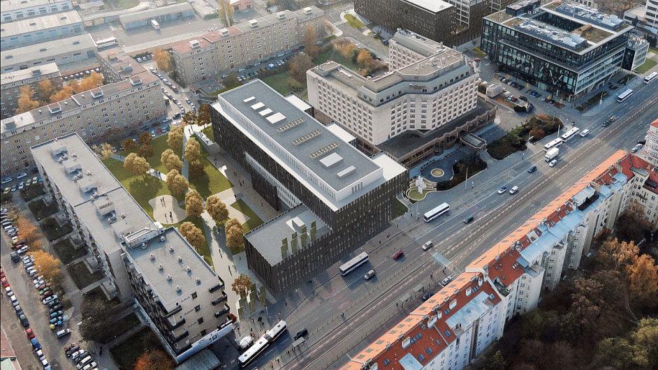 Vizualizace budovy The Blox (uprostřed)