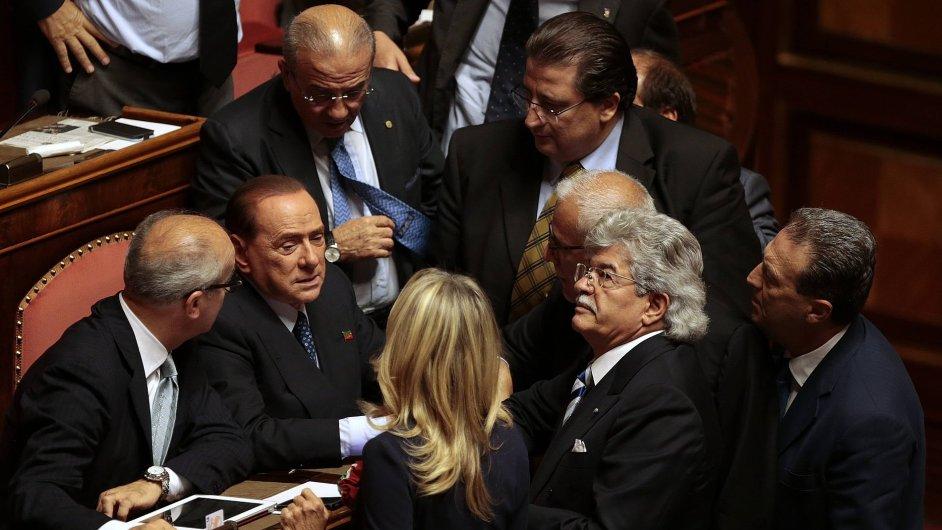 Silvio Berlusconi na jednání italského Senátu