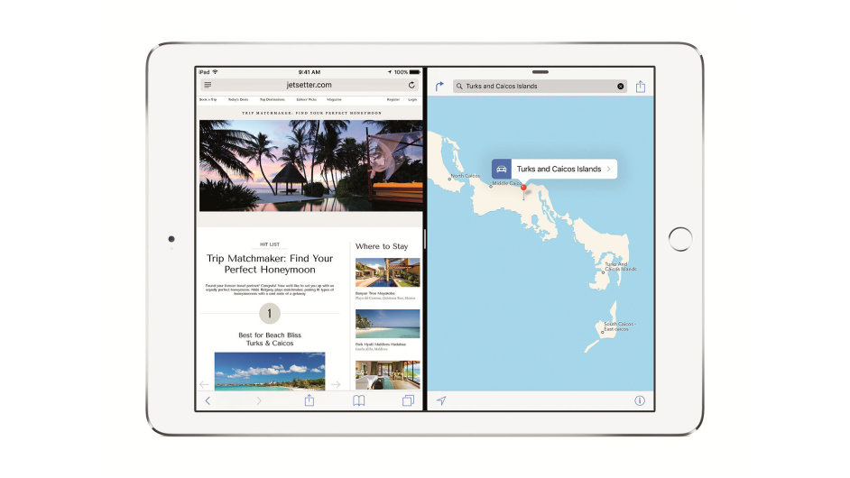 Dvě souběžně otevřené aplikace v iOS 9 na iPadu Air 2