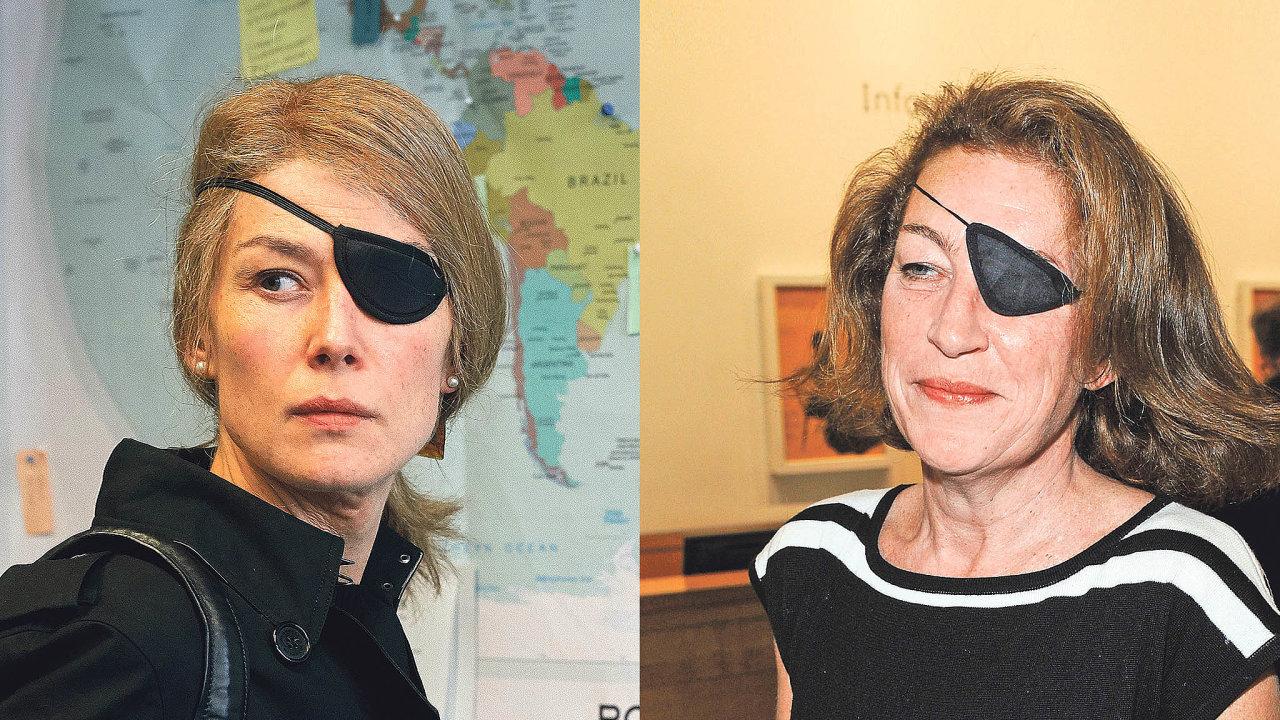 Válečnou reportérku Marii Colvinovou (foto vpravo) vefilmu APrivate War (Soukromá válka) hraje Rosamund Pikeová (foto vlevo).