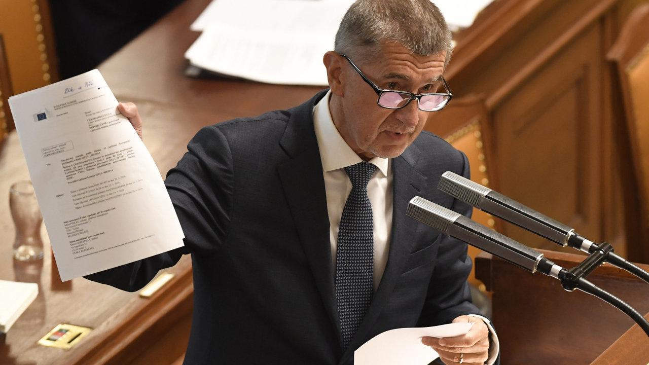 Premiér Andrej Babiš na schůzi Poslanecké sněmovny.