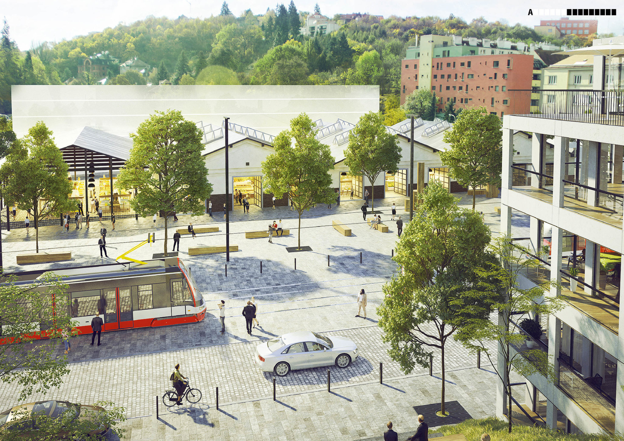 Motolské údolí v Praze podle představ ateliéru A69 – architekti. Zdejší košířská vozovna se má proměnit v kulturní a společenské centrum. Vizualizace zachycuje pohled do budoucnosti.
