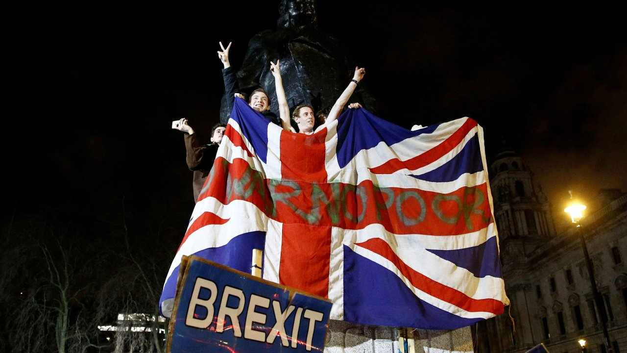 Oslavy brexitu v Londýně.