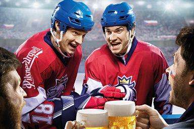 Příště bez piva: zamýšlené zpřísnění pravidel pro reklamu naalkohol může ovlivnit iprezentaci sportu (výřez zreklamy Plzeňského Prazdroje).
