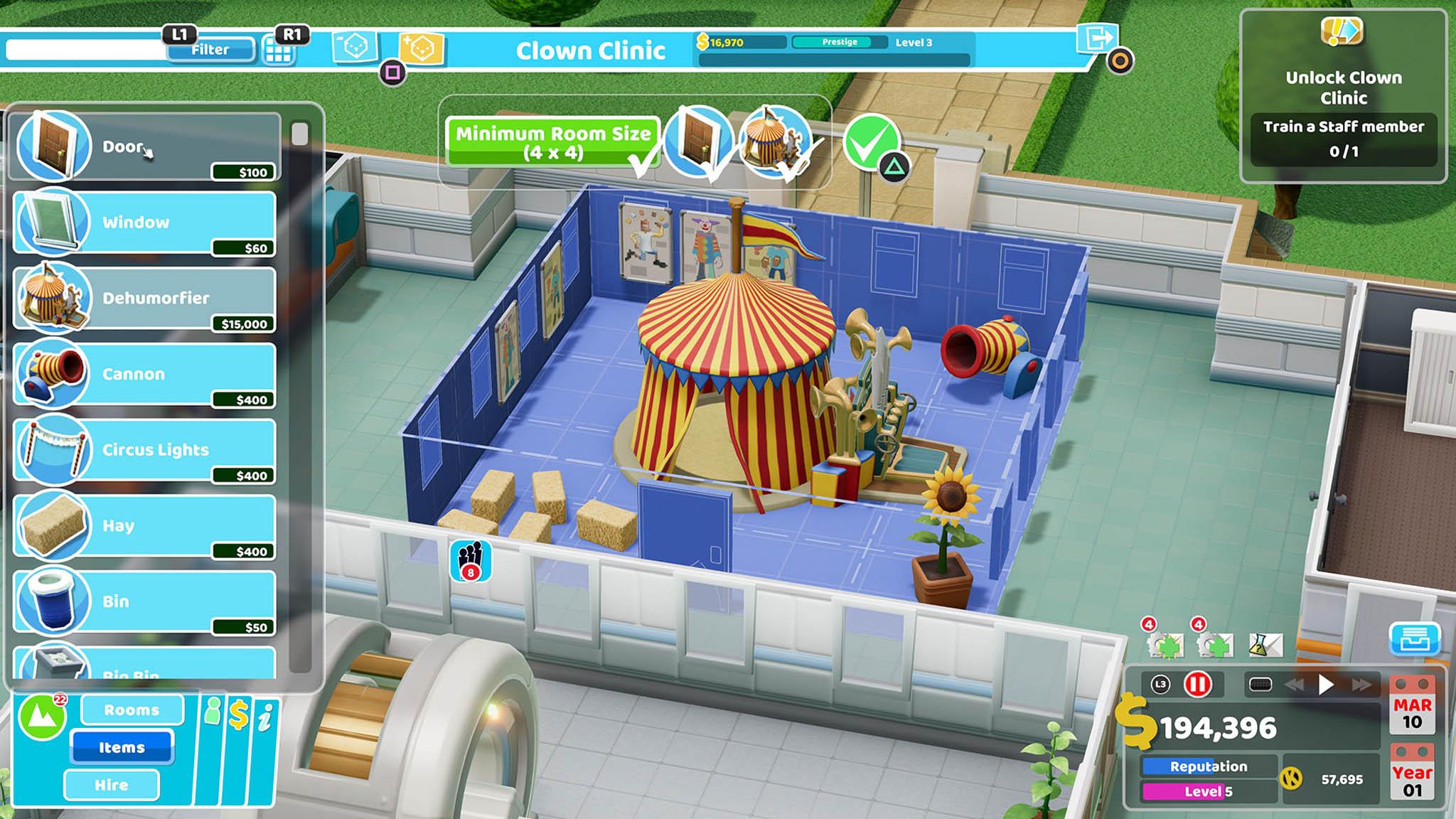 Ve hře Two Point Hospital se hráč v roli šéfa nemocnice musí postarat oléčbu pacientů, jejich pohodlí iospokojenost zaměstnanců.