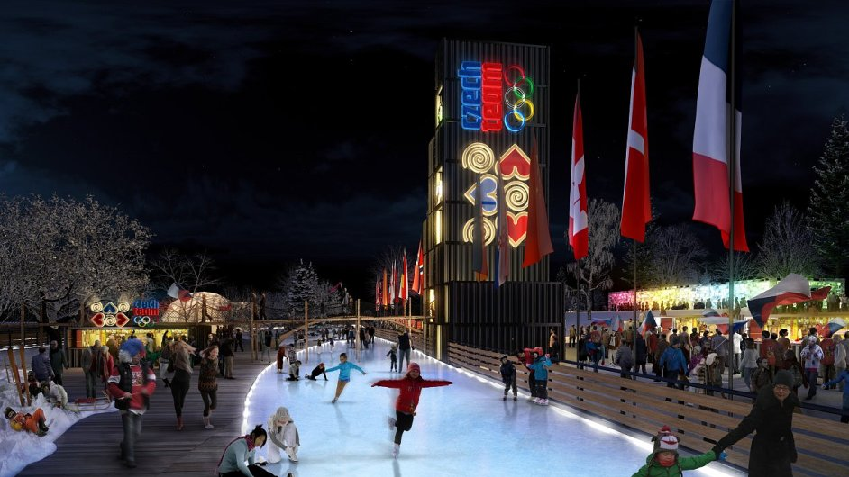 Vizualizace olympijského parku na pražské Letné