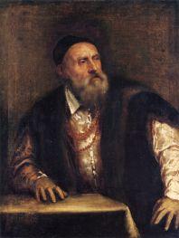 Takto se na autoportrétu z roku 1562 zachytil malíř Tizian.