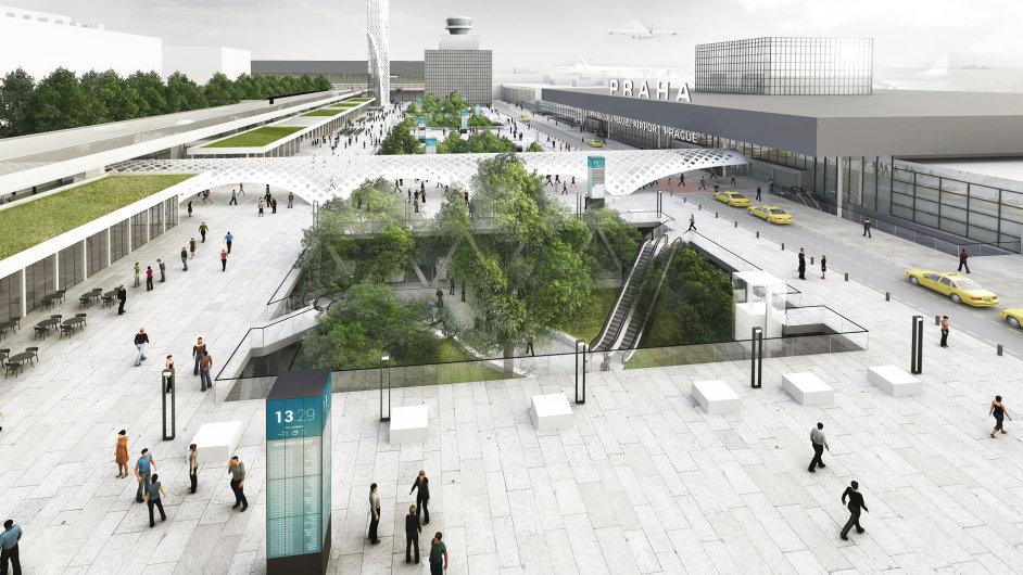 Návrh řešení dopravní situace před terminály pražského letiště z dílny architektonického ateliéru Rala.