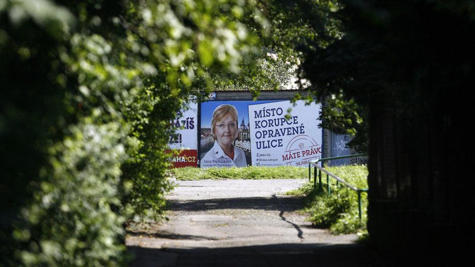 Předvolební billboardy a plakáty pro senátní a komunální volby 2014. Jana Plamínková