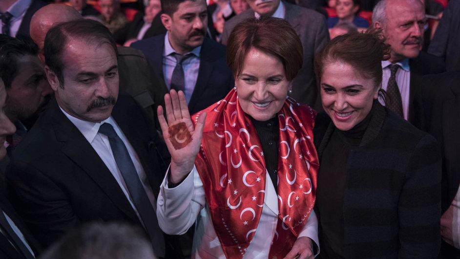 S rukou k referendu: Meral Aksenerová,turecká nacionalistická politička a bývalá ministryně vnitra, vsadila v kampani na státní symbol namalovaný henou na dlani.