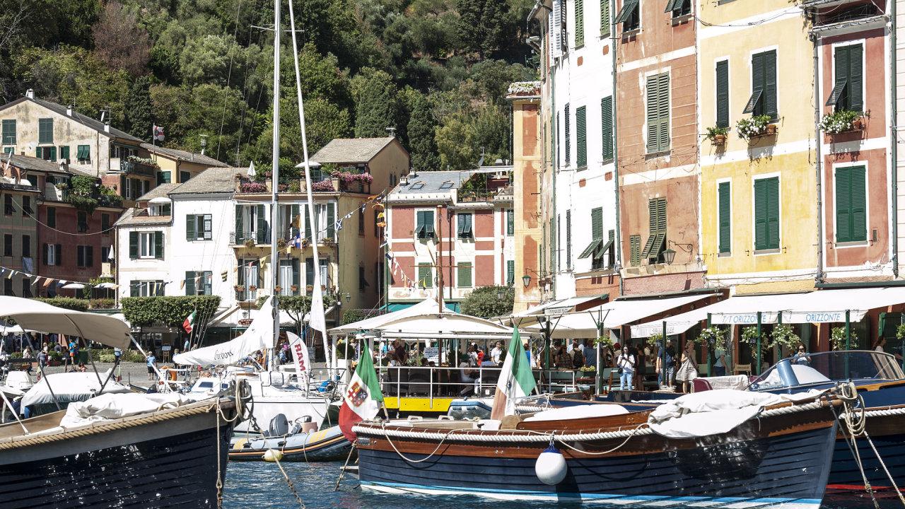 Itálie, turismus, přístav, Portofino, loď