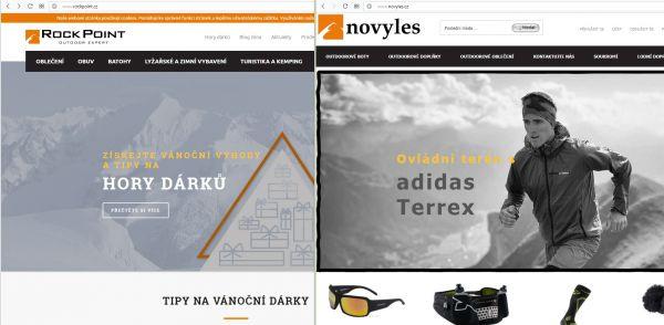 Vlevo je originální web Rock Pointu, vpravo jeho kopie dostupná z adresy novyles.cz.