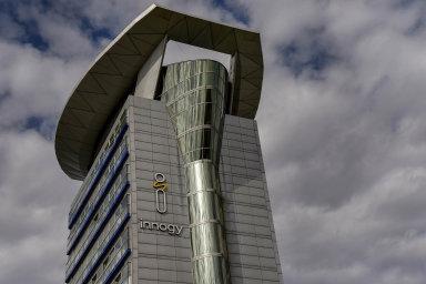 Hodnota innogy by se mohla pohybovat okolo 25 miliard korun. Na ilustračním snímku je budova Severomoravské plynárenské INNOGY- RWE v Ostravě.