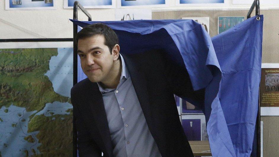 Lídr levicové strany SYRIZA Alexis Tsipras u voleb.
