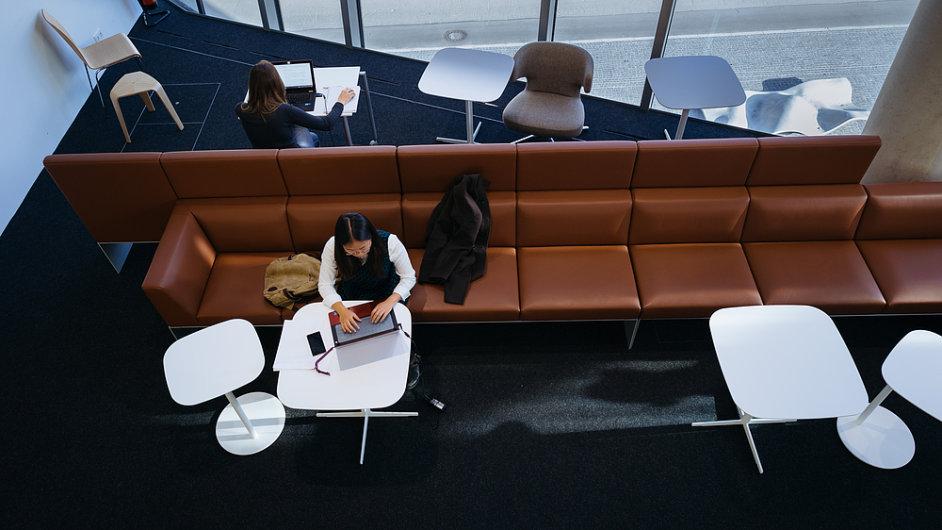 Univerzitní knihovna ve Freiburgu v Německu, počítač, notebook, práce, ilustrační foto