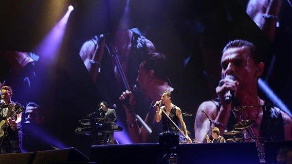 Na snímku z koncertu v Rize v roce 2014 jsou členové skupiny Depeche Mode.