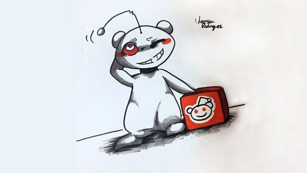 Kresba maskota Redditu vznikla jako reakce na příspěvek, v němž se učitel pochlubil malůvkou své studentky