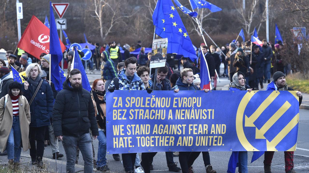Praha, protest, nacionalismus, SPD