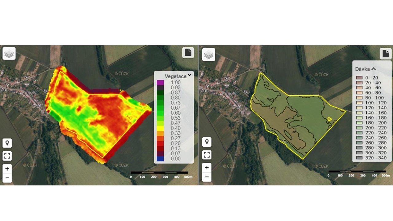 Zelené plochy na snímku vlevo označují místa se silnou vegetací. Na červených místech se naopak rostlinám příliš nedaří. Snímek vpravo pak ukazuje mapu takzvaného variabilního hnojení.