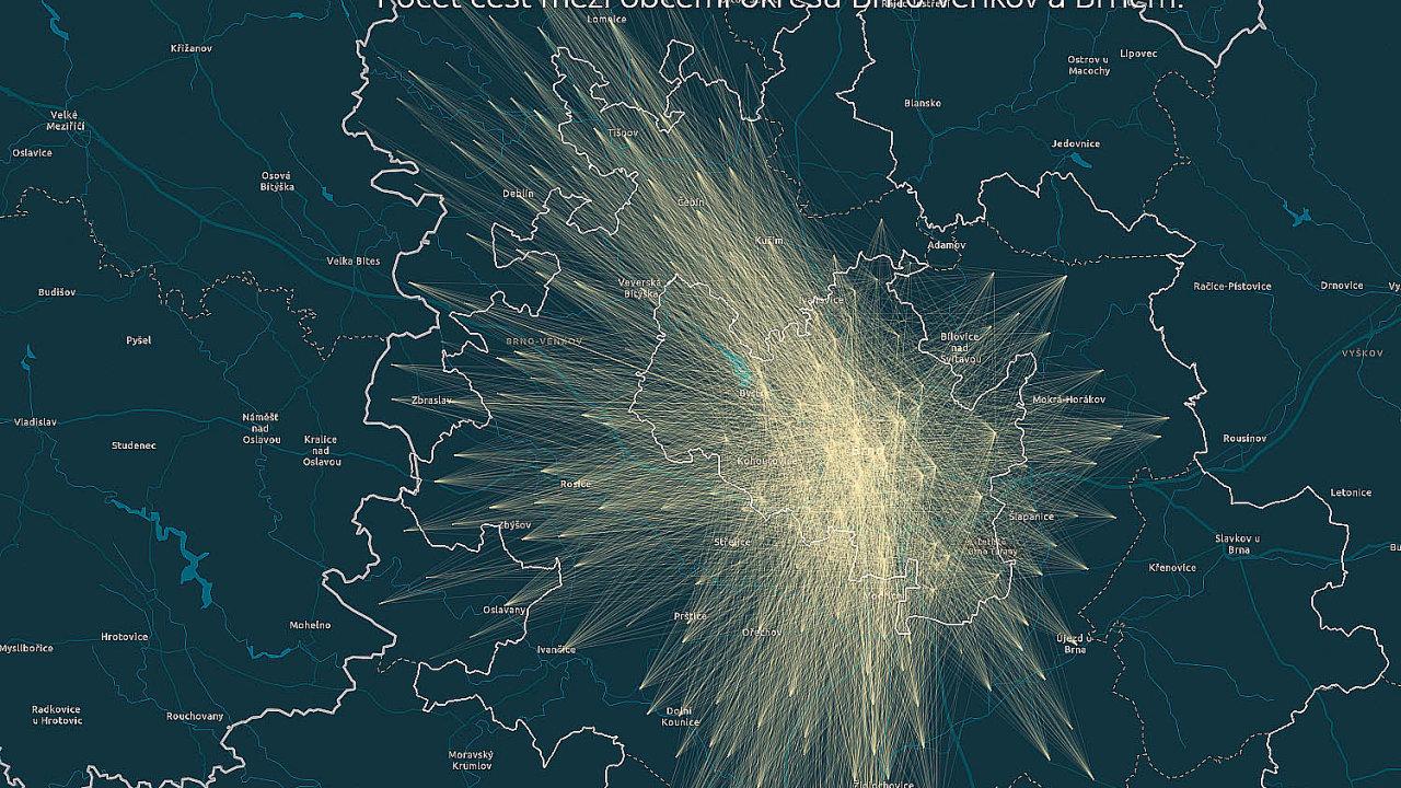 Vizualizace dat mobilních operátorů: pohyb osob aaktuální průměrné ceny nemovitostí.