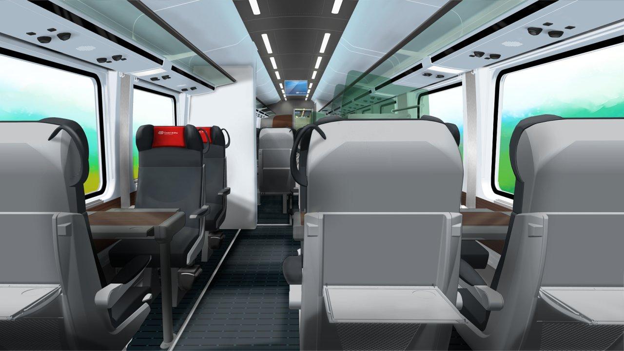 Vizualizace první třídy nových vozů ČD