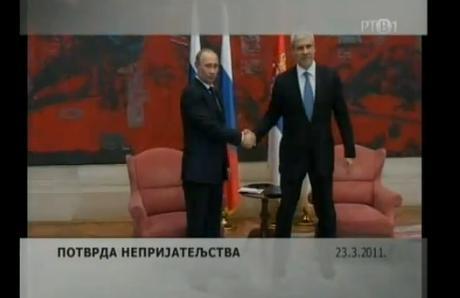 Putin a Tadić, chyba v titulc�ch