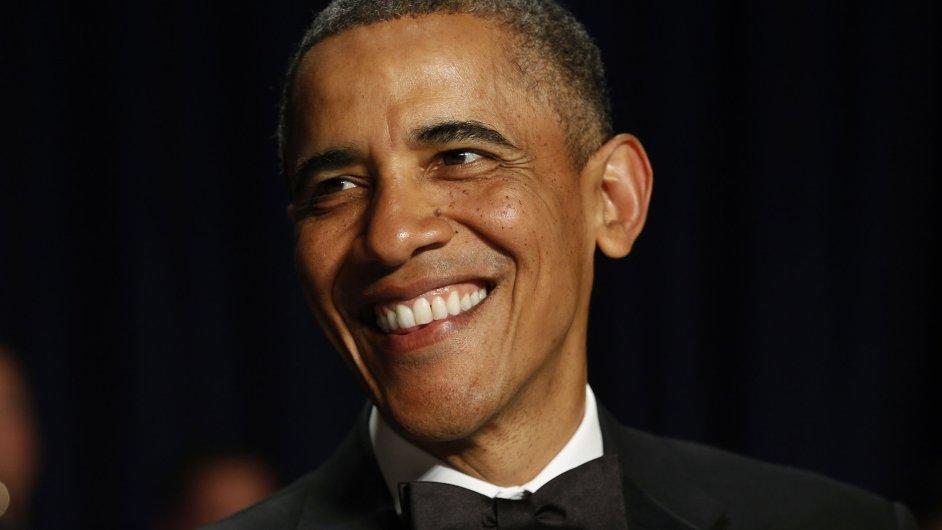 Americký prezident Barack Obama při večeři se sdružením washingtonských zpravodajů