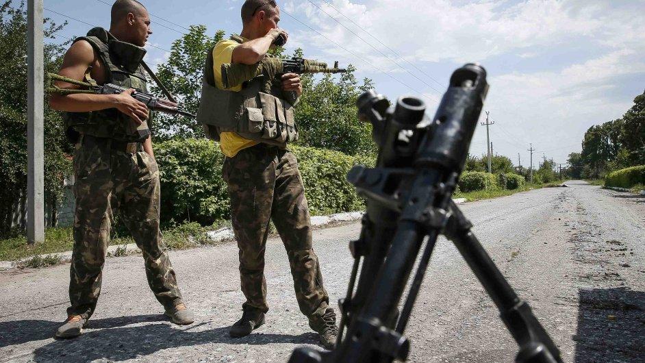 Ukrajinští vojáci na stráži