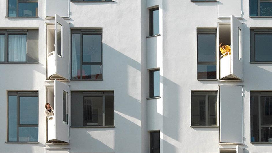 Bytový dům s výklopnými balkony od Fatkoehl Architekten