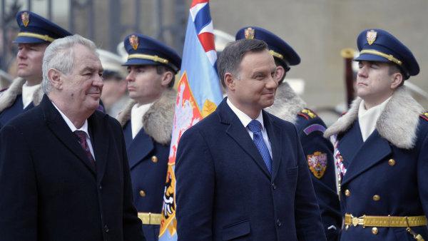 �esk� prezident Milo� Zeman a polsk� prezident Andrzej Duda se setkali 15. b�ezna v Praze.
