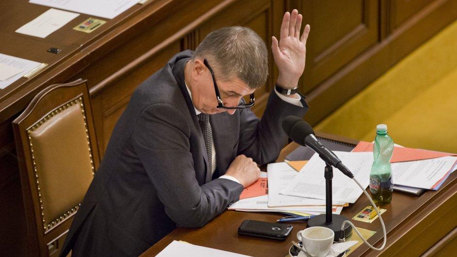 Ministr financí Andrej Babiš 10. února v Praze na mimořádné schůzi sněmovny ke schvalování elektronické evidence tržeb.