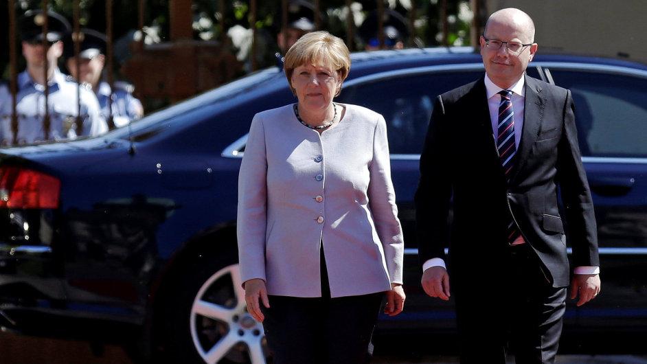Angela Merkelová a Bohuslav Sobotka v Praze.