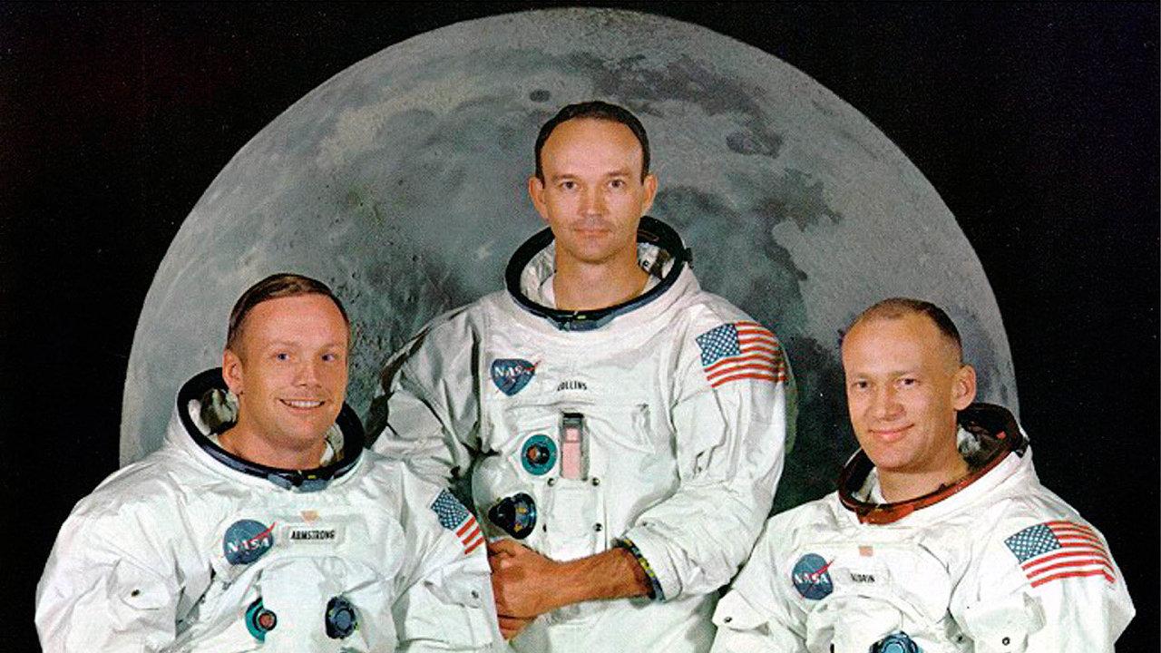 Posádka: Neil Armstrong, Michael Collins, Edwin