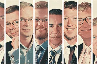 Zleva David Marek, Petr Sklenář, Filip Pertold, Jan Lát, Barack Obama, Mark Zuckerberg, Bill Gates a Bill Gross