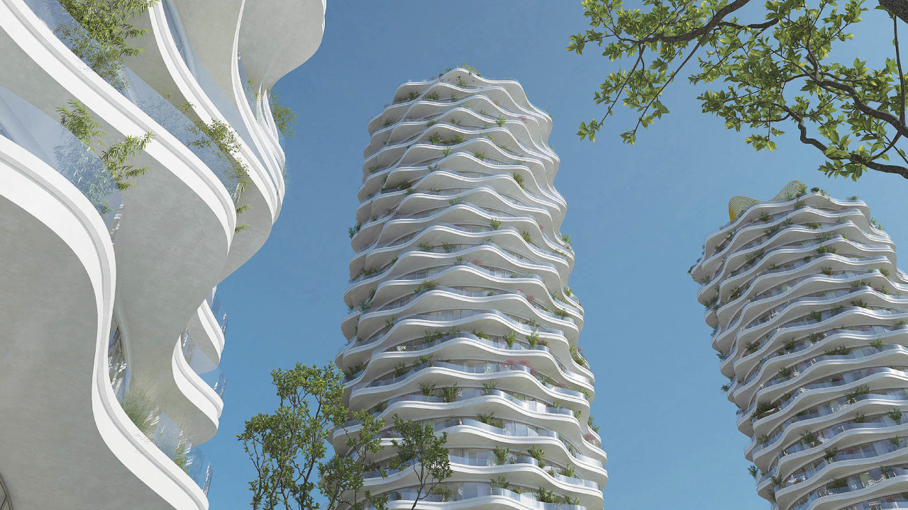 Žižkov se rozrůstá. Namístě bývalého Telecomu vPraze 3 by mohlo vpříštích letech vyrůst až tisíc bytů vprojektu, který pro developera Central Group navrhla architektka Eva Jiřičná.
