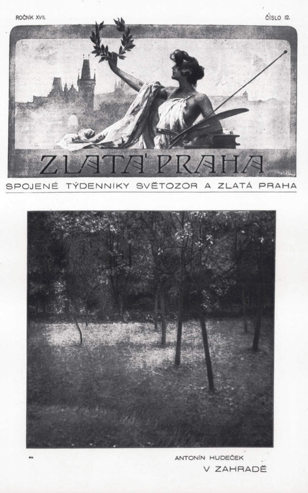 Antonín Hudeček: Vzahradě (Krajina zOkoře), olej, plátno, 78,5 x 90,5 cm, 1899 1 950 000 Kč
