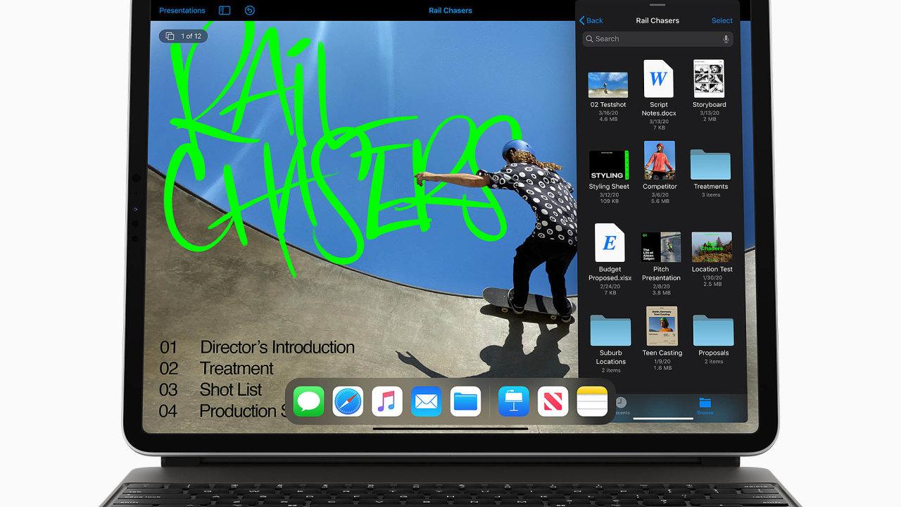 iPad Pro odApplu plnohodnotně podporuje myši atouchpady, volitelné příslušenství, unikátní podsvícená klávesnice Magic Keyboard, má sama touchpad.