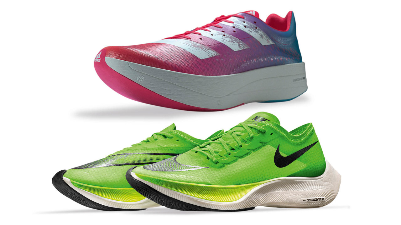 Boty Adizero Adios Pro (nahoře), loňský model Nike Vaporfly (dole)