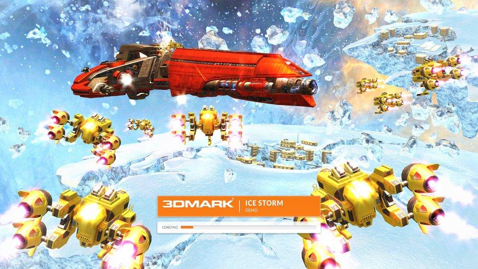 Snímek z testu Ice Storm testovacího softwaru 3DMark