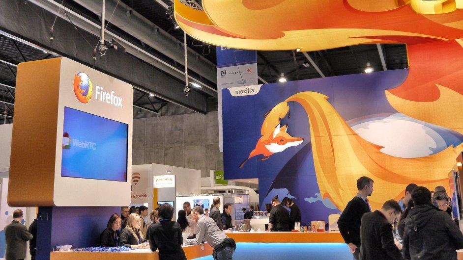 Stánek systému Firefox OS na Světovém mobilním kongresu