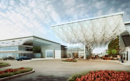 Vizualizace nového terminálu v San José, který má sloužit společnosti Google